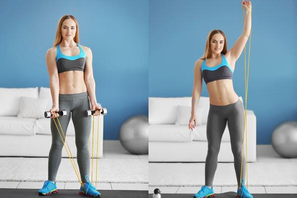 armspieren trainen met elastiek